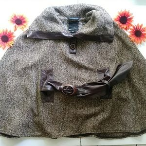 Mackage Tweed & Leather Cape